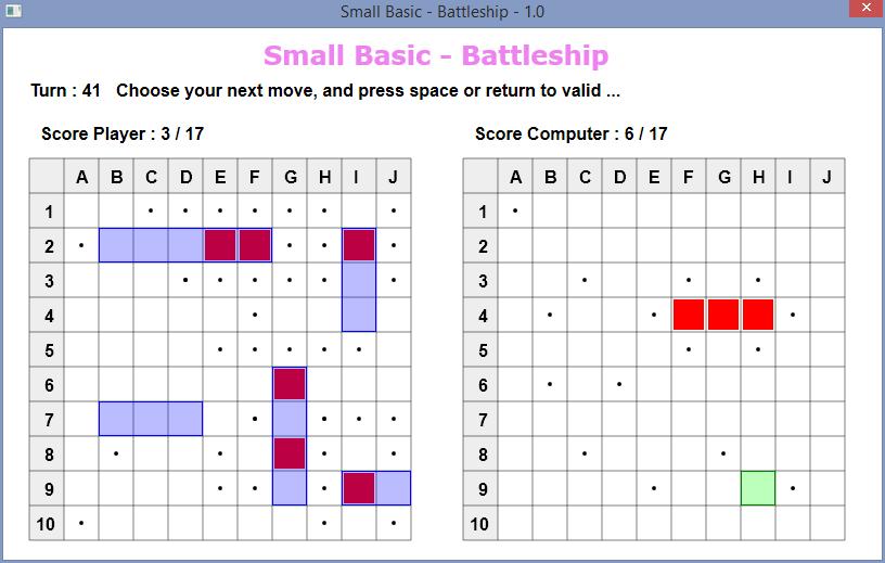 Small Basic Battleship Screenshot